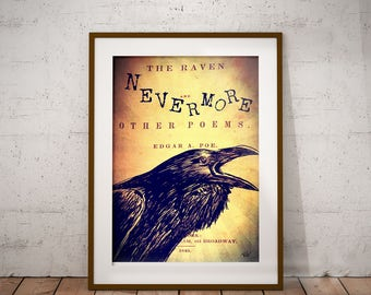 The Raven  Edgar Allan Poe Gothic Book  Page Illustration Print