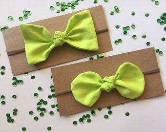 Knotted Bow Headband - Lime Green