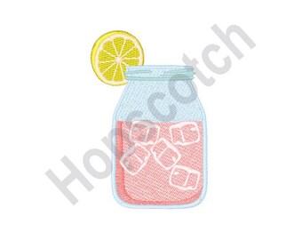 Pink Lemonade Jar - Machine Embroidery Design