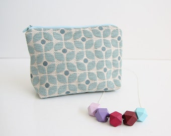 Zipper pouch + geometric bead necklace gift set