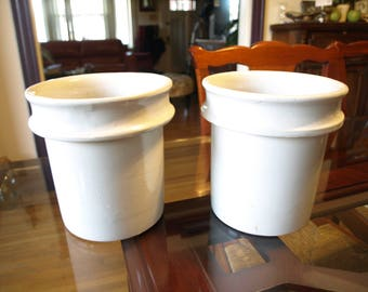 Two One Gallon Red Wing Crock Stoneware Steamer Inserts - Salad Bar, Deli, or Butter Crock – Stoneware Planter Pot