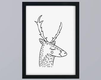 Deer head - art print unframed family gift family fine art print