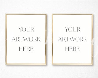 8x10 digital set of 2 gold frame mockup portrait stock photo styled photography prints illustration instant download