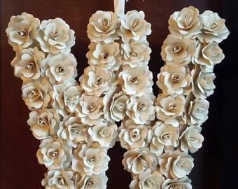 Custom Paper Flower Initial Wreath