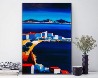Dark blue seascape painting, Original Oil Painting on Canvas, Seascape, Modern Art, Summer Sea