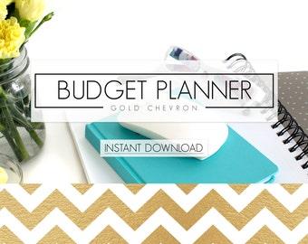 "Gold Chevron Financial Planner Bundle    8.5"" x 11"" DIGITAL DOWNLOAD Budget Binder    Printable Finance Planner Inserts"