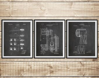 Bathroom Sign, Patent Print Group, Bathroom Art Poster, Toilet Art Print, Patent Print Set, Toilet Paper Poster, Toilet, INSTANT DOWNLOAD