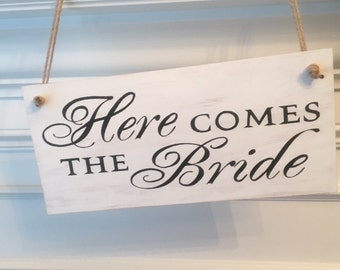 Here Comes The Bride Sign-Rustic Wedding Beach Sign-12' x 5.5' Sign-Here Comes The Bride Beach Sign