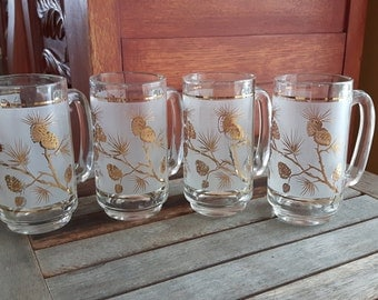Vintage Frosted Gold Pine Cones Steins, Beer Mugs (4) / 4-beer mugs vintage motifs in gold on white frosted pinecones