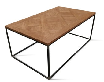 Industrial, parquet Versailles coffee table/ Solid oak