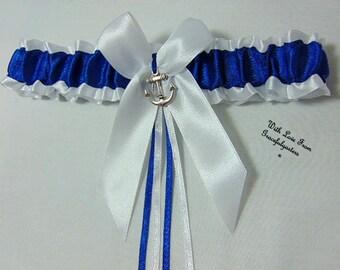 Anchor sailor Bridal Wedding Garter. Nautical. Beach