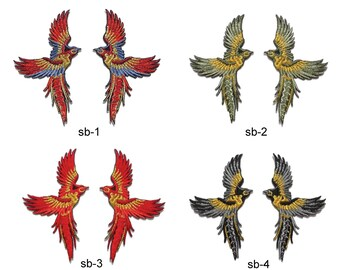 Small Phoenix Bird Patch - 4 x 7 cm - 1 pair - Embroidery - Iron on / Sew on Applique - Decorative - Fabric Adhesive - Glue on - Clothing