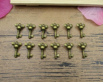 20 Mickey Key Charms Antique Bronze Tone-RS443