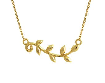 Olive Leaf Branch Pendant Necklace