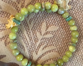 Elephant-Olive New Jade and Magnesite Spacers Bracelet