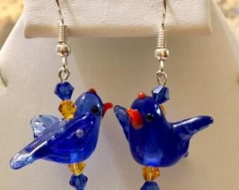 Glass Bluebird Earrings