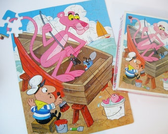 Pink Panther Jigsaw Puzzle, Vintage Pink Panther 100 Piece Kids Puzzle, Children's Puzzle, Whitman Puzzle, 1960s Cartoons, Fishing Puzzle