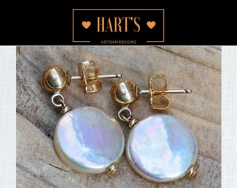 Coin Pearl 14K Earrings