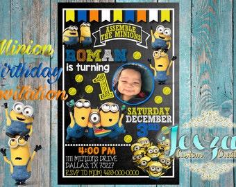 minion invitation  etsy, Birthday invitations