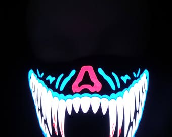 Blue and White Teeth Sound Activated LED Rave Mask for DJ, Edc, Ultra, Music Festival, Concerts, Club, EDM, Costume, Cosplay, Dance, Music