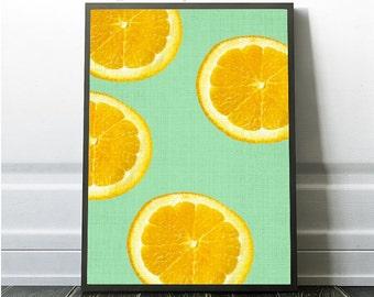 Orange Print Photo Art Modern Print Modern Minimal Fruit Decor Instant