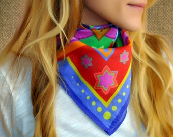 VITALITY printed scarf, bandana, scarf, gift for her, colorful scarf, rainbow scarf, multicolor scarf, cotton scarf, neck scarf