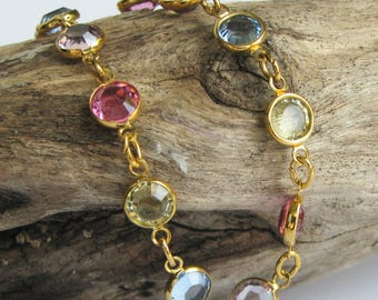 Vintage Multicoloured Multicolored Rhinestones Gold Tone Metal BraceletPink Purple Blu Yellow
