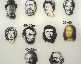 Famous and well known Faces.  A pack of 12 x wood cutouts