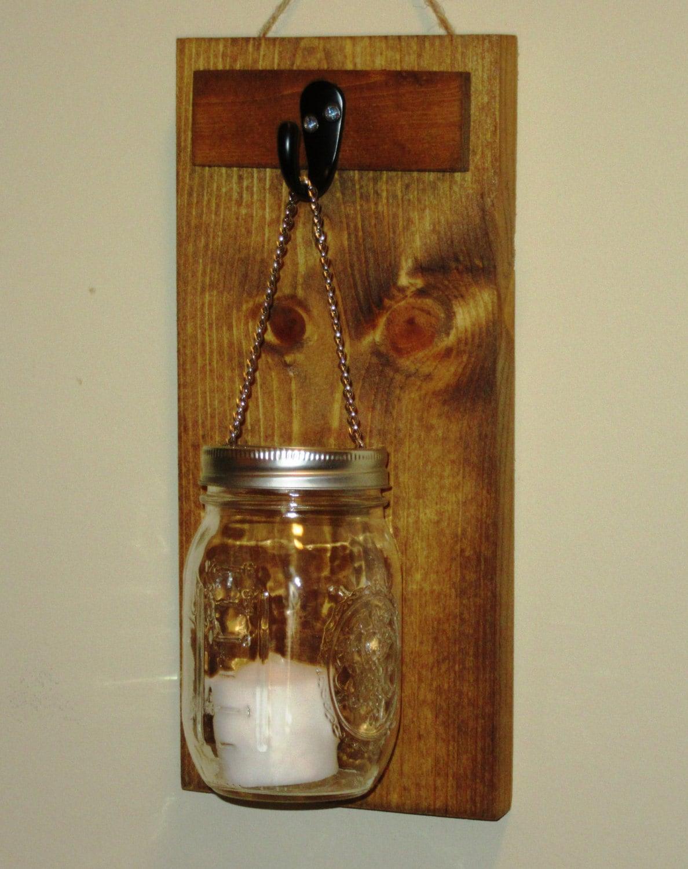 Mason Jar Candle Wall Sconces : Rustic Mason Jar Wall Sconce Mason Jar Candle Holder Wall