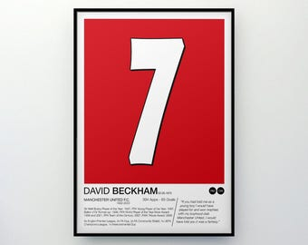 David Beckham - #7 - Manchester United F.C. - Poster Print