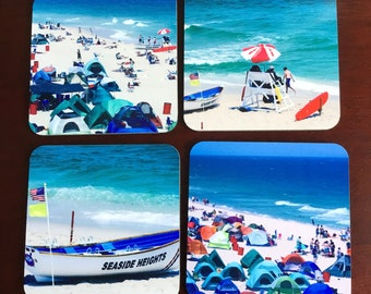 Beach Photo Coaster, Hardboard Coaster, Set of 4 Square Coaster with Cork, Sublimated Coaster, Printed Coaster, Home Decor, Accessories.