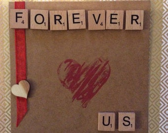 Valentines Scrabble Design Handmade Card, For him or Her, just to say I love you