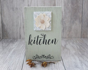Kitchen Sign - Rustic Sign - Distressed Sign - Fabric and Wood Sign