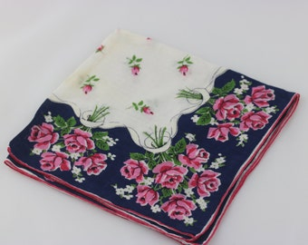 Vintage Floral Handkerchief, Cotton Hankie, Pink Flowers, Flower Girl Handkerchief, Wedding Handkerchief, Something Blue, Vintage Wedding