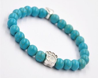 New Chic Beaded Turquoise Bracelet with Silver Dog Pawprint