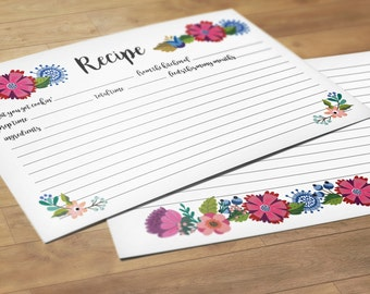 Floral Recipe Cards, Set of 24 Cards