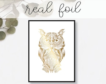 Abstract Owl Print // Real Gold Foil // Minimal // Gold Foil Art Print // Home Decor // Modern Office Print // Tropical // Fashion Print