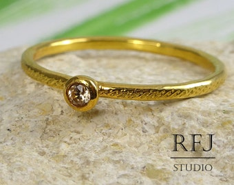 24K Gold  Dainty Textured Lab Cognac Diamond Ring, Yellow Gold Plated 2 mm Cubic Zirconia Cognac Stackable Ring, Gold Cognac CZ Ring
