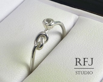 Natural White Topaz Knot Ring, April Birthstone Silver Promise Ring, 2 mm Round Cut White Topaz Knotted Ring Topaz Love Promise Friend Ring
