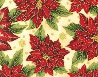 "Christmas Fabric, Poinsettia: Holiday Season - Happy Holiday Flourish 5 Poinsettias on Ivory 100% cotton Fabric by the yard 36""x43"" (K191)"