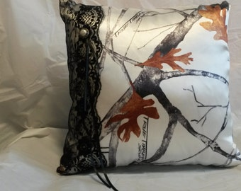 Snow Camo with Black Lace Ring Bearer Pillow