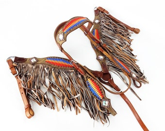 Embroidered Suede Fringe Leather Show Headstall Western Horse Trail Barrel Racing Bridle Breast Collar Plate Tack Set