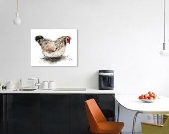 Hen print // A3 hen print // chicken print // chicken painting // chicken kitchen decor // chicken gifts // chicken art // chicken drawing