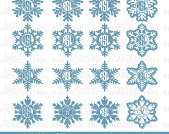 SALE! Snowflake Monogram svg, dxf, jpg, png Vector Cut File, Snowflake Monogram Frame, Snowflake Monogram Digital Download, Christmas SVG
