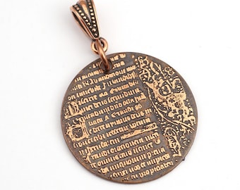 Medieval style pendant, etched copper illuminated manuscript text, optional necklace, 28mm