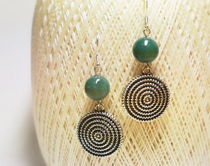 Green agate earrings, Silver Earrings, Handmade earrings,Drop Earrings,Beaded Earrings,boho earrings