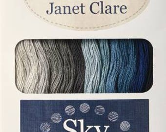 12 sleins floss sampler,  Sky , from lecien, colorway designed by Janet Clare, cosmo floss,