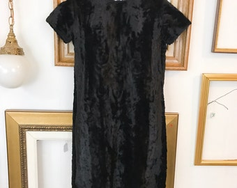 Vintage 60s Black Faux Fur Shift Dress - sz 2 - Free Ship
