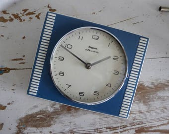 Dugena electric classic wall clock kitchen kitchen clock blue well working clock best conditions vintage