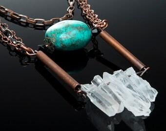 Quartz Crystal & Turquoise Necklace